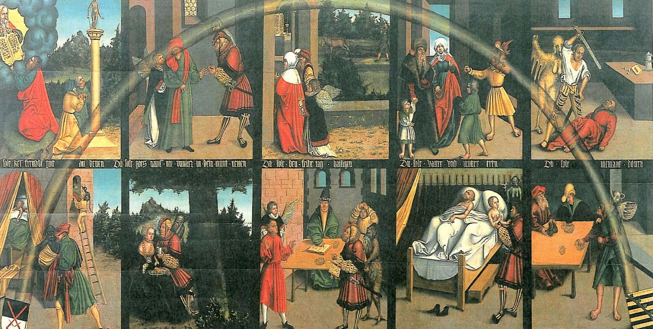 """""""10 Gebote"""" af Lucas Cranach den Ældre"""