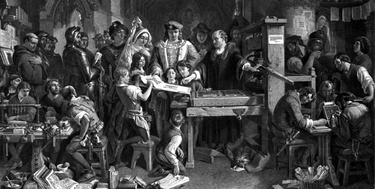 Trykpressen var en af Renæssancens store opfindelser. Her demonstreres den for Kong Edward d. 4. af England.