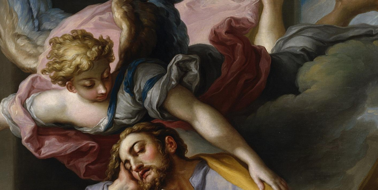 """I en drøm siger englen til Josef, at han ikke skal være bange for at tage Maria til sig som sin hustru. Billede: """"El sueño de San José"""" - Josefs Drøm, malet af Vicente López Portaña. Kilde: Wikimedia Commons."""
