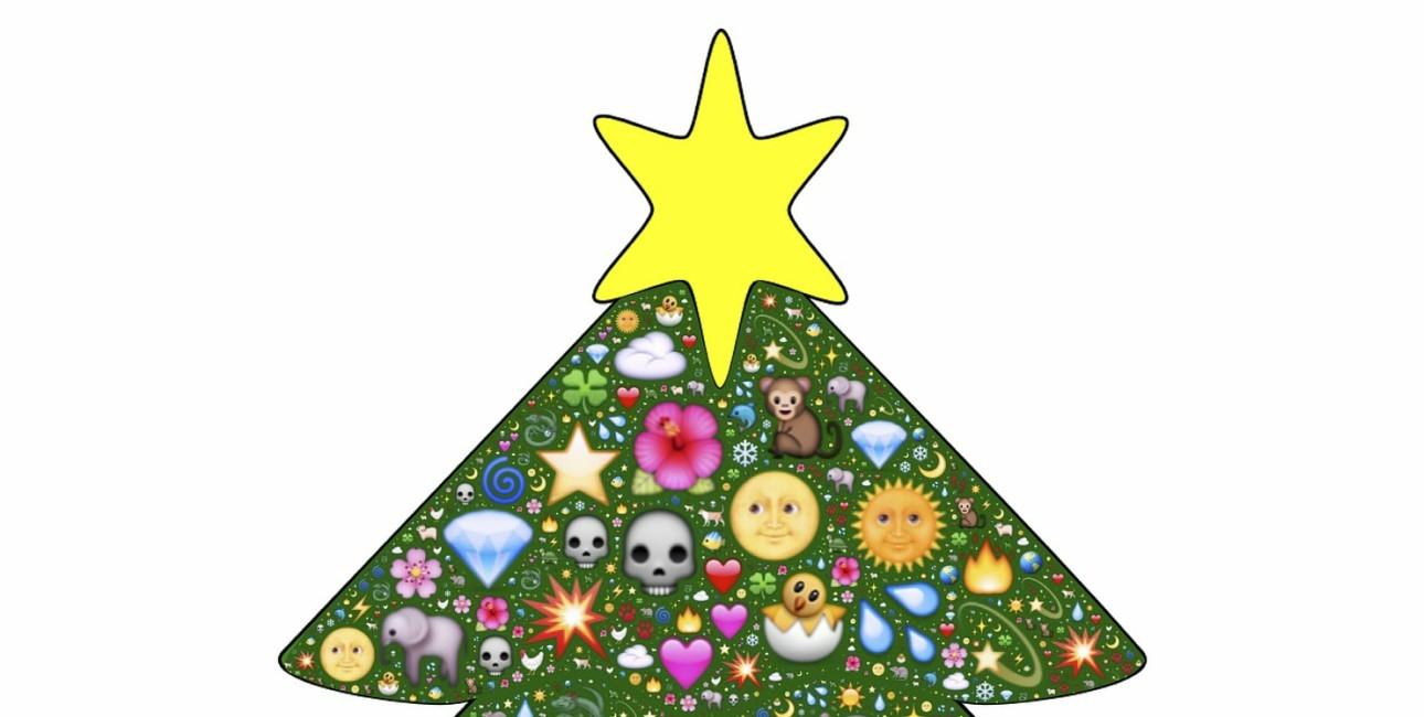 Julen illustreres med emojis.
