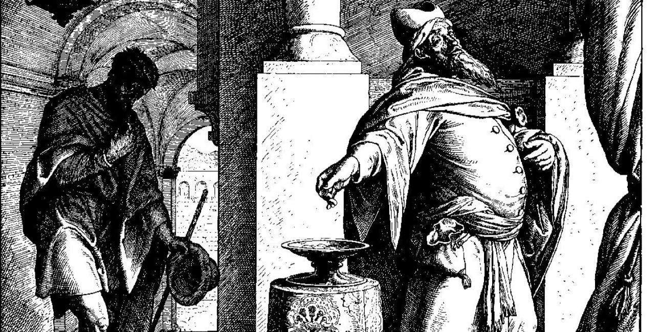 """""""Der pharisäer und der zöllner"""" af Julius Schnorr von Carolsfeld."""