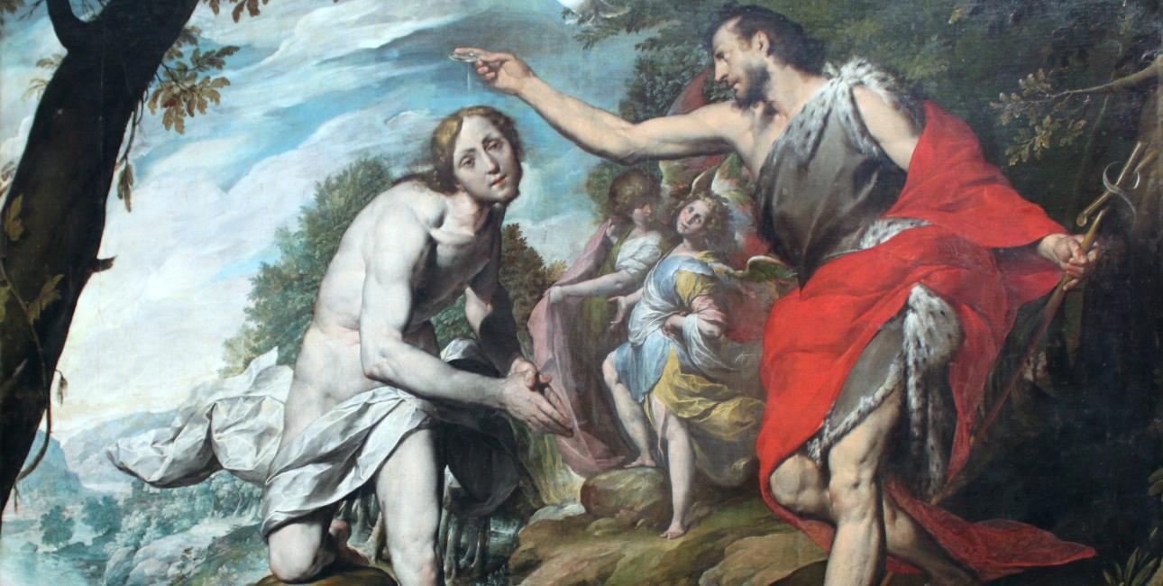 Jesus og Johannes Døberen - Giovanni Battista Crespi
