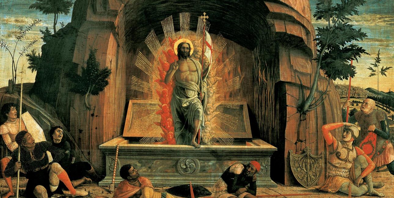 """Livets sejr over døden er så stort og godt nyt, at det er svært at slippe og umuligt at gøre sig færdig med, skriver biskop Henrik Wigh-Poulsen i artiklen """"Påskedag bliver dødens punktum til en tankestreg"""". Billede: """"La Résurrection"""" - Opstandelsen, af Andrea Mantegna. Foto: Wikimedia Commons."""