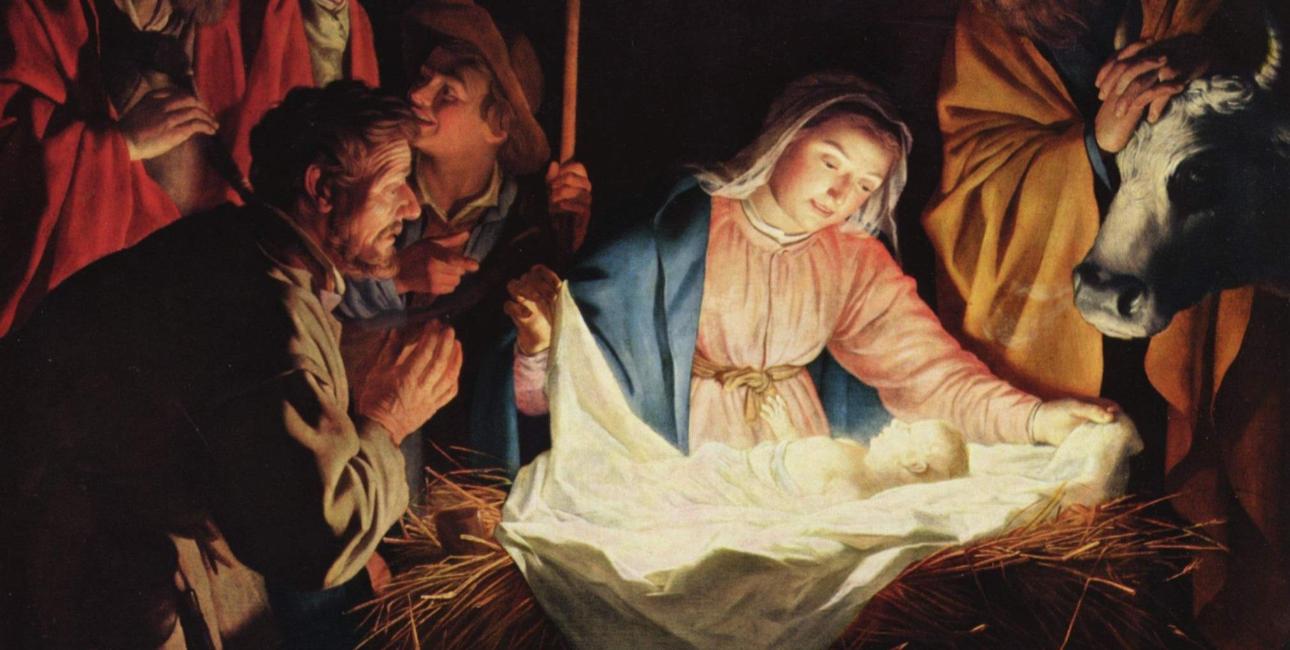 Maria våger over Jesus i krybben. Maleri af Gerard von Honthorst. Kilde: Wikimedia Commons.