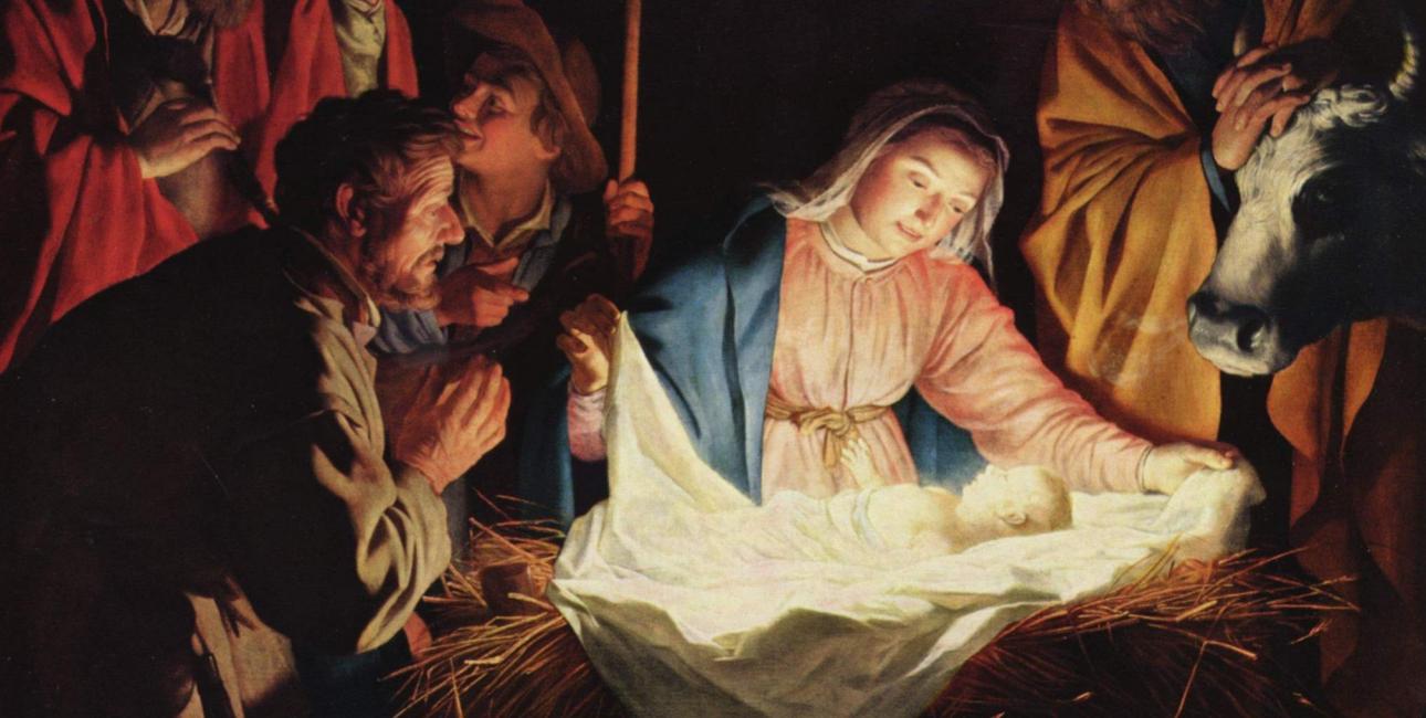 I sin kærlighed til mennesker gav Gud sin egen søn. Til stald og krybbe, kors og død. Billede: Maleri af Gerard von Honthorst. Kilde: Wikimedia Commons.