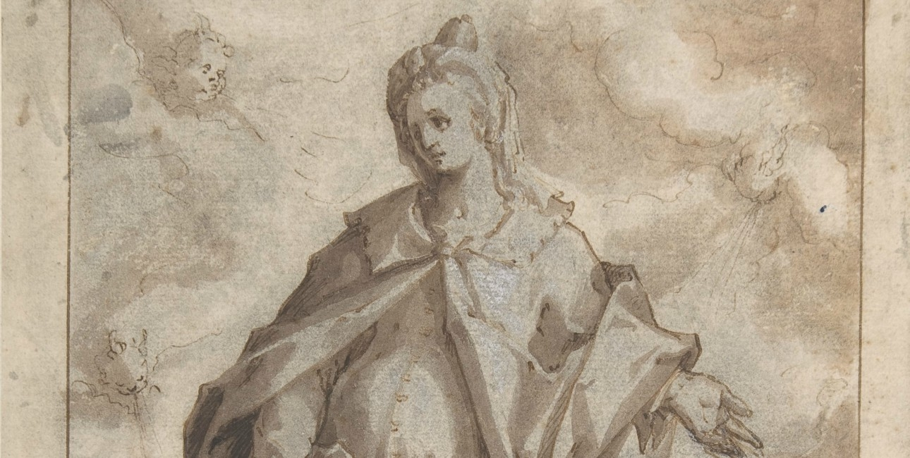 """""""The Prophet Daniel in a Landscape"""" fra slut 1600-tallet til start 1700-tallet af Hendrik Goltziu."""