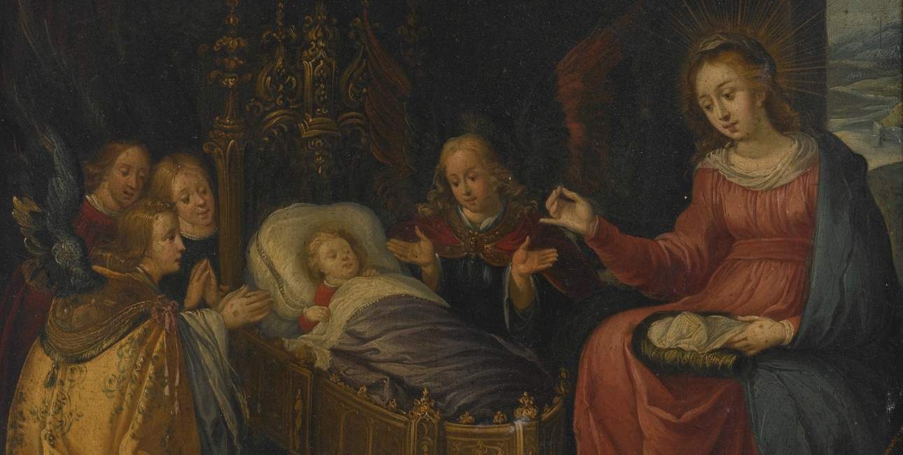 """Madonna and Child with God the Father, the Holy Spitit, and adoring angels"" af Pieter Lisaert fra 1600-tallet."