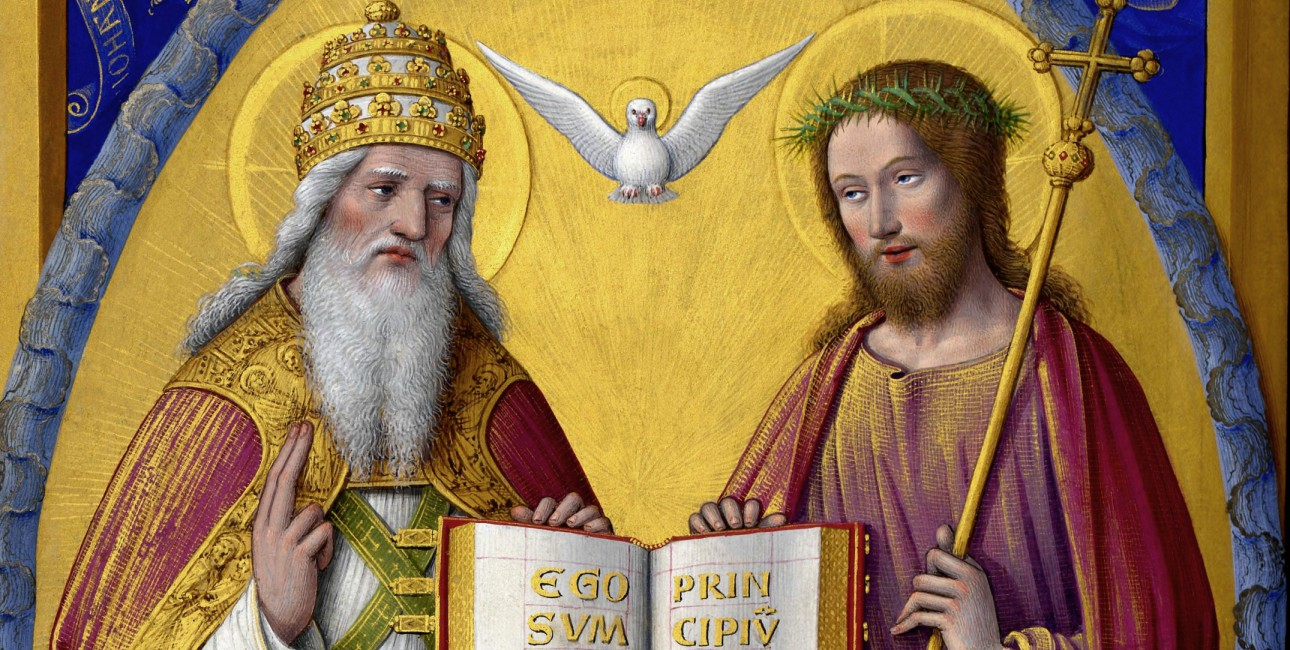 """I kristendommen tror man på, at Gud er treenig. Faderen, Sønnen og Helligånden er ikke det samme, men de er samtidig ét. Helligånden afbildes ofte som en due. """"The Holy Trinity"""" fra ca. 1503-1508 af Jean Bourdichon (1457-1521). Foto: Wikimedia commons."""