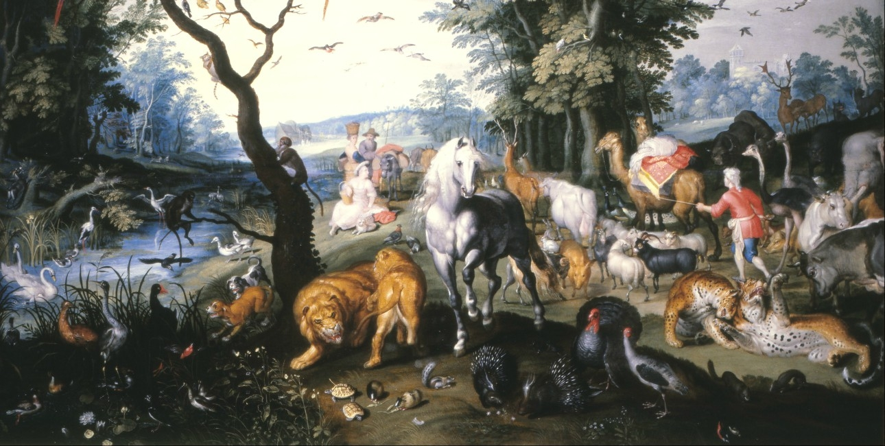"""The animals entering Noah's Ark"" af Jan Brueghel, den yngre. Findes på Museum of Lázaro Galdiano, Spanien."