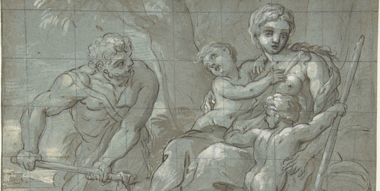 Adam and Eve after their Expulsionn with infants Cain and Abel.