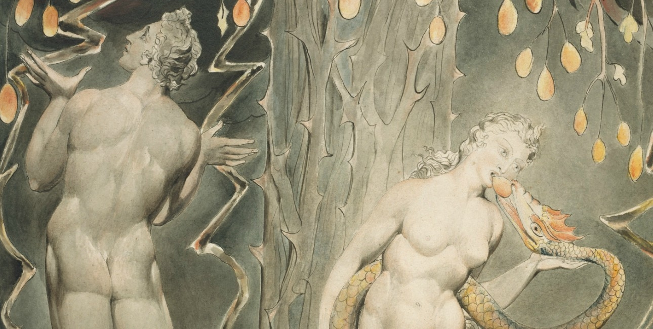 """The Temptation and Fall of Eve"" fra 1808 af William Blake."
