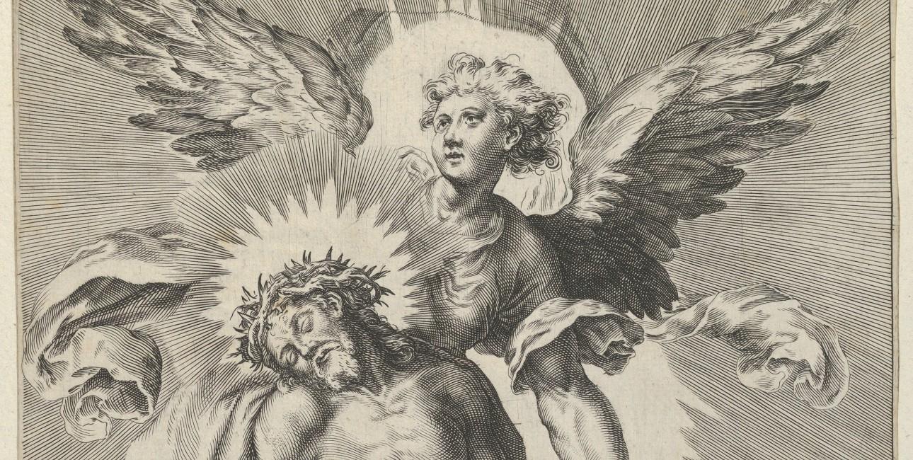En engel støtter Kristus i himlen.