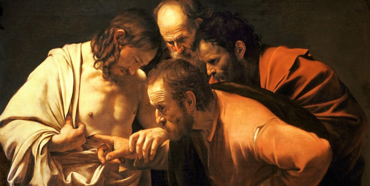 """Disciplen Thomas ville mærke Jesus' sår, inden han troede på, at Kristus faktisk var genopstået. Maleriet er kaldet """"Sankt Thomas' Tvivl"""" og malet af Michelangelo di Caravaggio i ca. 1601-1602. Foto: Wikimedia Commons."""