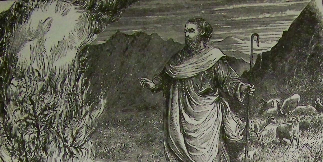 """""""Moses and the burning bush"""" fra 1890. Illustration fra Holman Bibelen."""