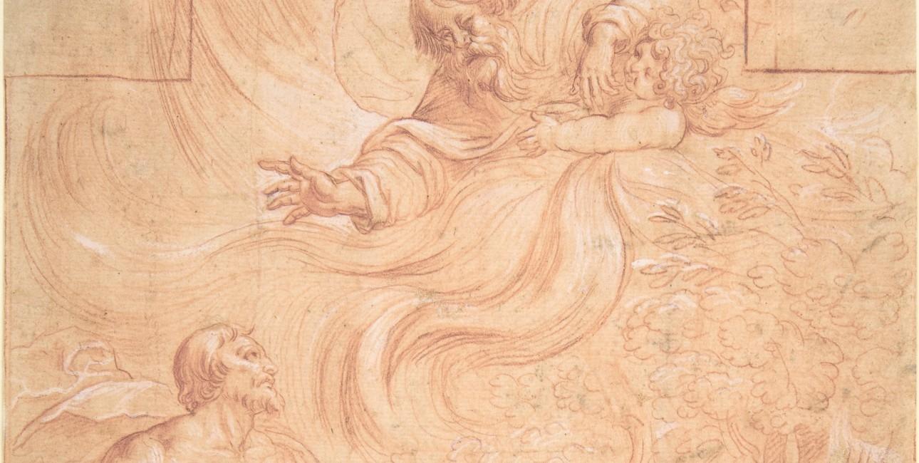 """""""God appearing to Moses"""" findes på The Metropolitan Museum of Art. Oversættelser af Bibelen fra originalsprog kan medføre, at sproglige pointer går tabt."""