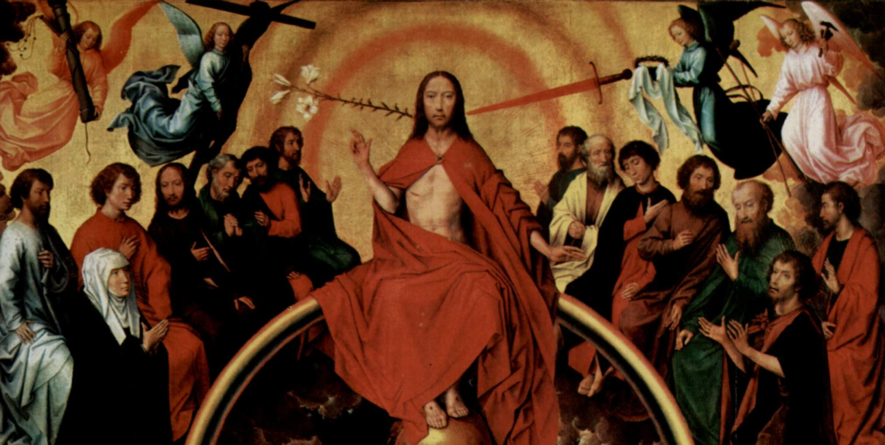 Jesus på Dommedag med en lilje og et sværd