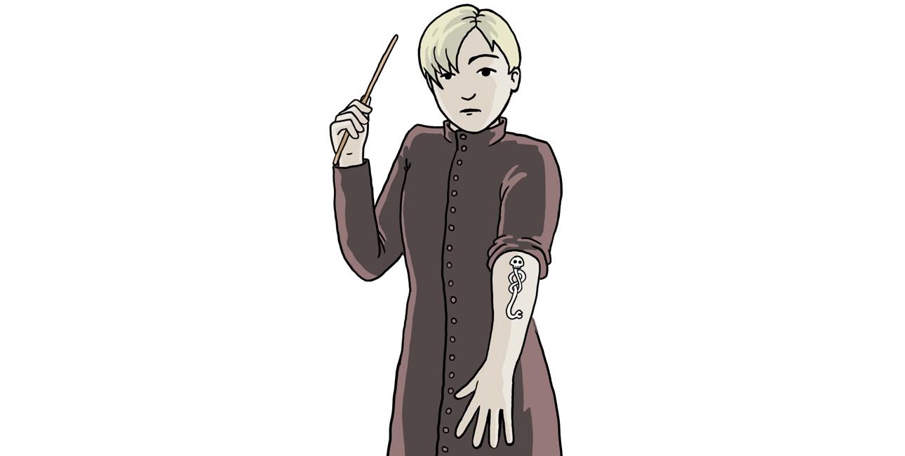 Mørkets tegn på en dødsgardist. Illustreret af Marie Dyekjær Eriksen.