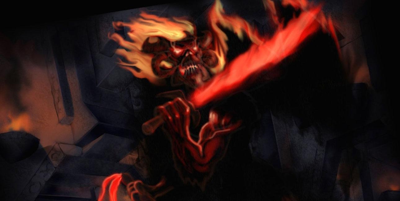 Tolkien var klart inspireret af bibelske historier og idéer om Helvede, da Ringens Broderskab i Ringenes Herre møder en balrog - et ildmonster med flammesværd, der udfordrer Gandalf og trækker ham i døden. Illustration: Markus Röncke.