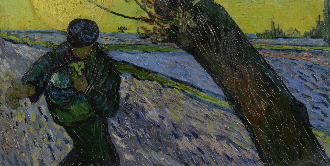 Van Goghs maleri: Sower at sunset,