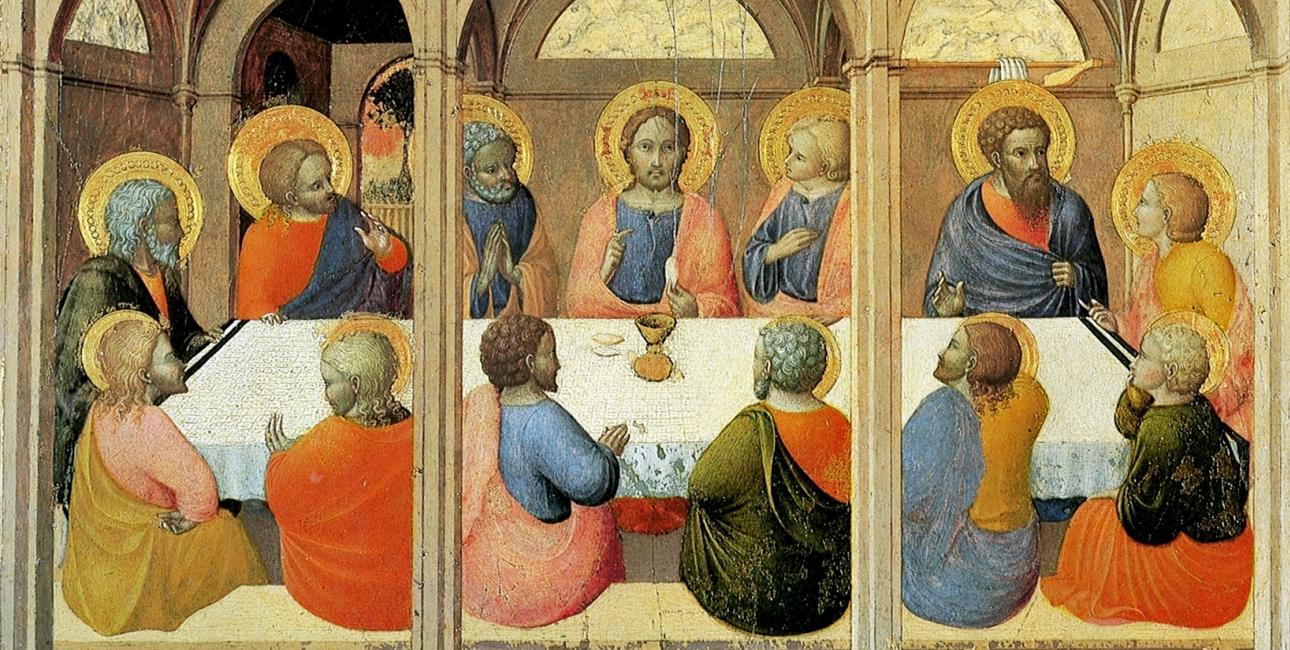 """Skærtorsdag, aftenen før Jesus bliver henrettet, spiser han påskemåltidet sammen med disciplene. Dette sidste måltid for Jesus bliver i den kristne kirke det vigtigste måltid: Nadveren. Maleriet er """"Den sidste nadver"""" af Stefano di Giovanni. Kilde: Wikimedia commons."""