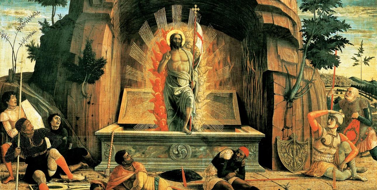 Jesus' opstandelse vender sorg til glæde og viser os at døden ikke er uovervindelig, men at Gud har det sidste ord - selv hvis vi mennesker ikke umiddelbart kan se det. Maleri af Andrea Mantegna. Foto: Wikimedia Commons.