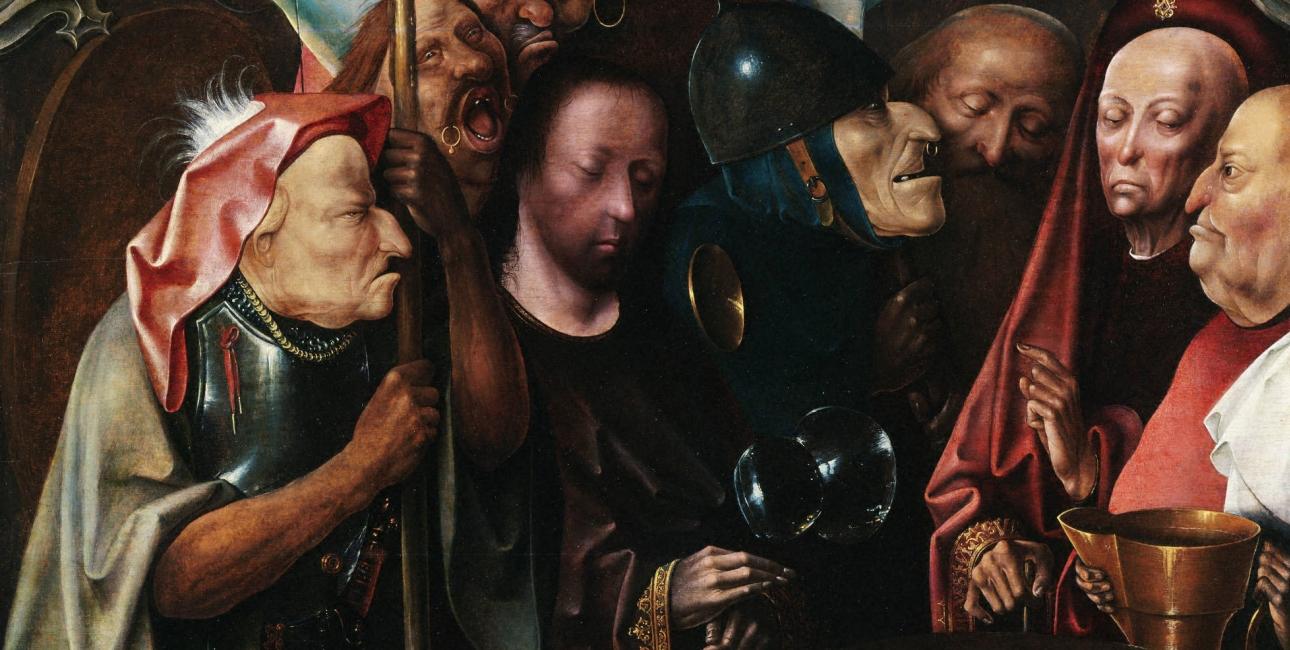 Pontius Pilatus taler med Jesus, og vasker sine hænder. Maleri af Hieronymus Bosch.