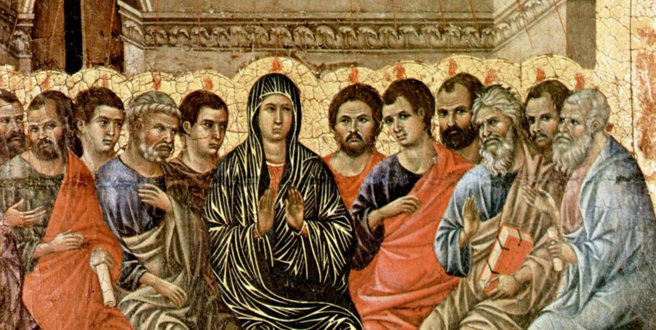 Helligånden kommer til disciplene og sætter sig som ildtunger på deres hoveder. Maleri af Duccio di Buoninsegna, Wikimedia Commons.