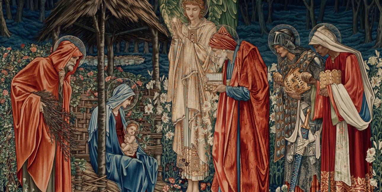 De helligtrekonger bringer gaver til Jesusbarnet. Gobelin af Edward Burne-Jones.