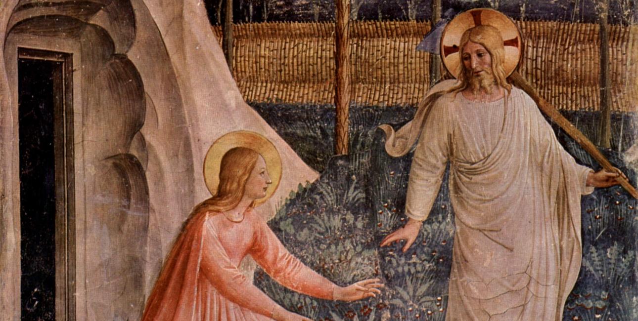 Maria Magdalene møder den opstandne Jesus. Fresco af Fra Angelico.