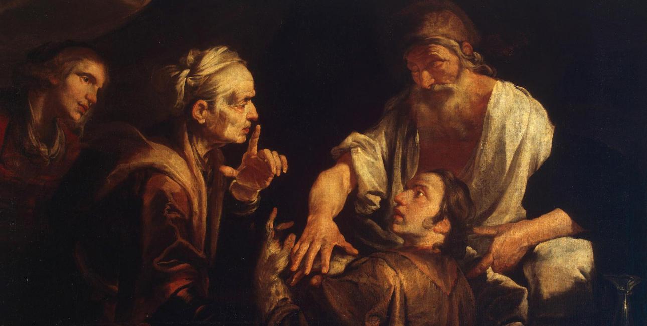 Med hjælp fra sin mor snyder Jakob sin gamle far Isak, så det er Jakob, der får sin fars velsignelse og førstefødselsretten - og ikke Esau, som det burde være. Maleri af Gioachino Assereto.