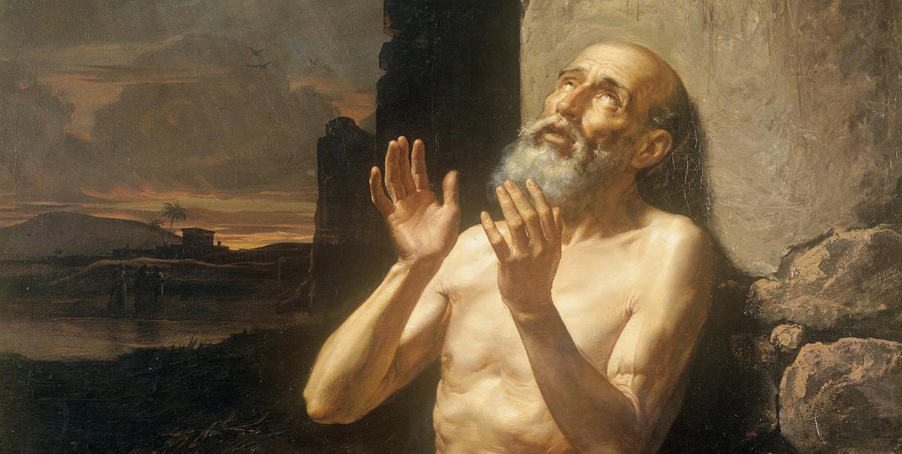 Selv efter utallige prøvelser mister Job ikke troen på Gud. Maleri af Gonzalo Carrasco.