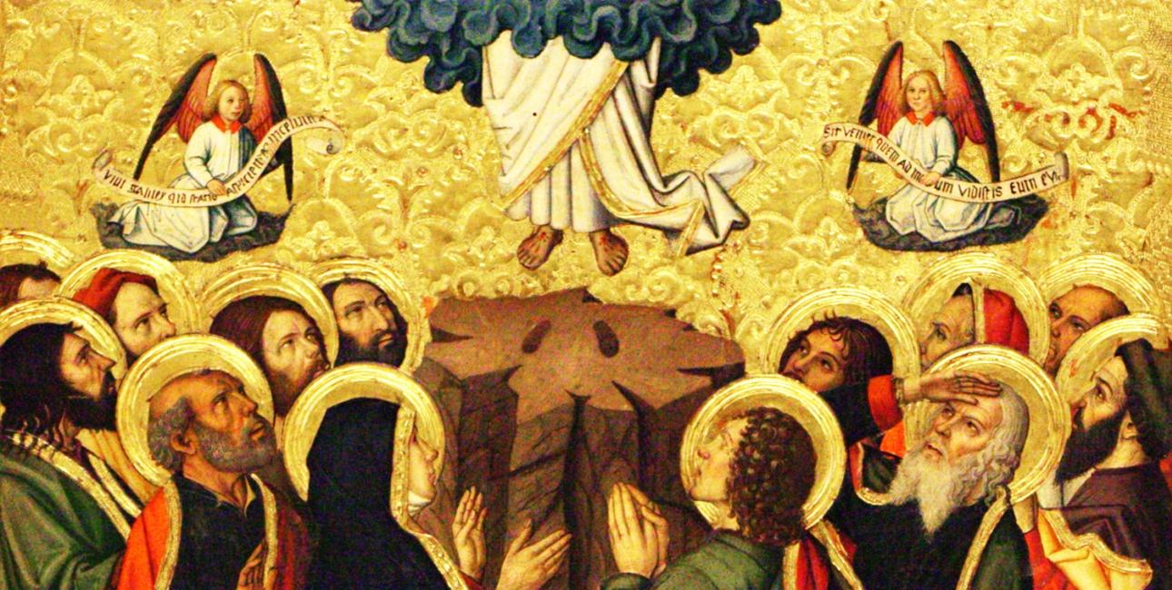 """Med Kristi himmelfart er Jesus ikke længere bundet til en bestemt lokalitet eller en bestemt tid. Himlen er tæt på alle mennesker alle steder og til alle tider. Maleriet er et udsnit af en altertavle, af Jaume Huguet, 1464-1475, som hænger i """"The Catedral of Saint Mary of Tortosa"""", Spain."""