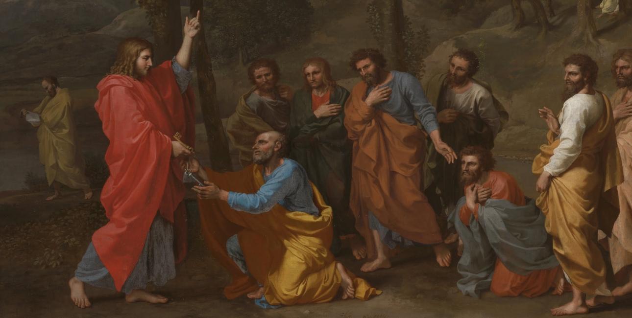 Jesus overdrager i Matthæusevangeliet de to nøgler til Himmeriget til Peter. Maleri af Nicolas Poussin. Foto: Wikimedia Commons