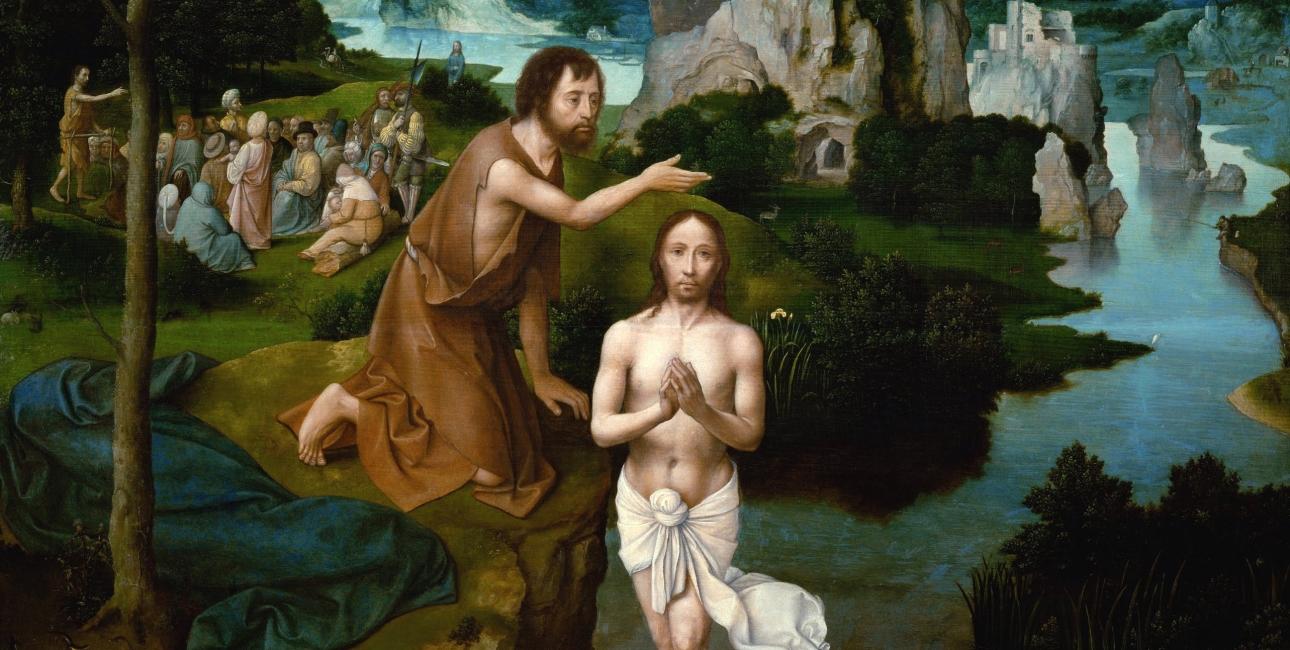 Johannes døber Jesus i Jordanfloden. Maleri af Joachim Patinir.