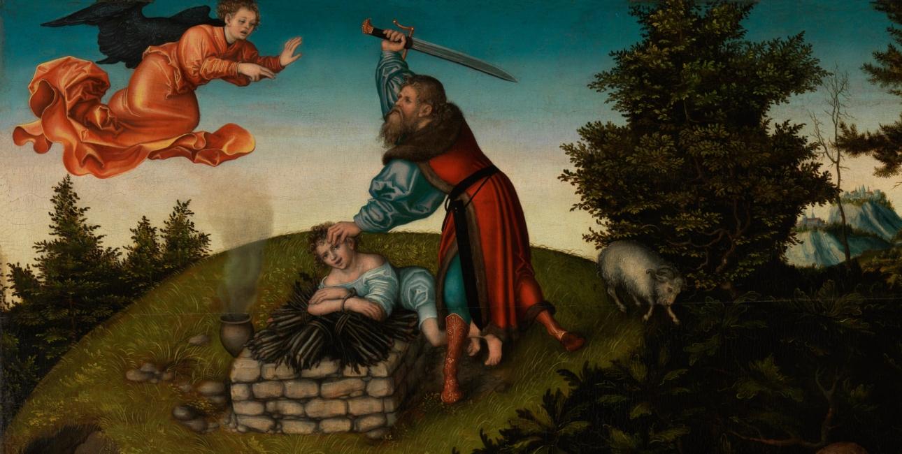 Abrahams tro bliver testet, da Gud beder ham om at ofre sønnen Isak. Maleri af Lucas Cranach den ældre.