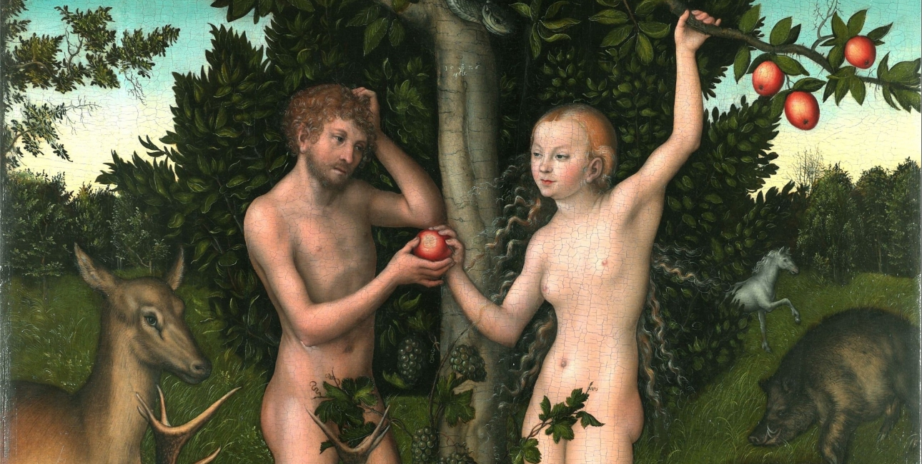 Adam og Eva lever i Paradisets Have indtil de forbryder sig mod Guds vilje. Maleri af Lucas Cranach den ældre.