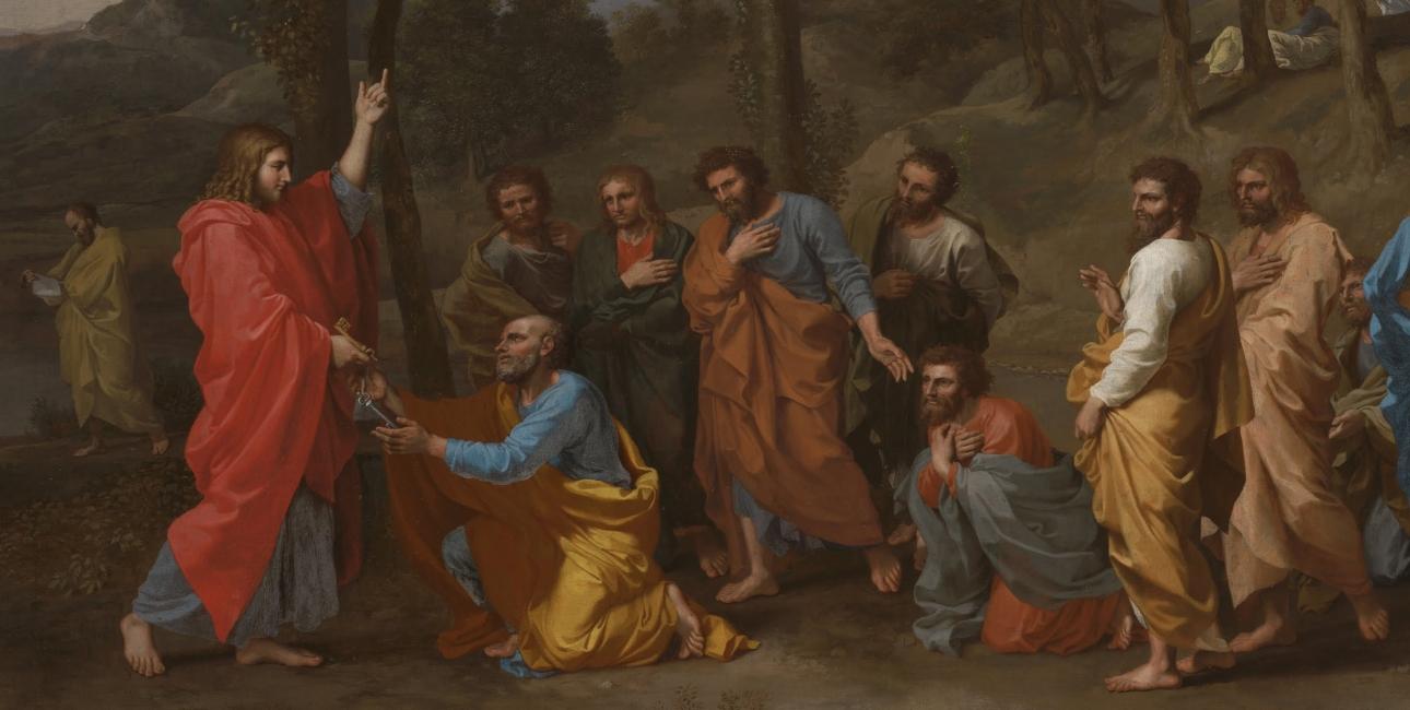 Jesus Kristus giver nøglerne til Peter. Maleri af Nicolas Poussin.