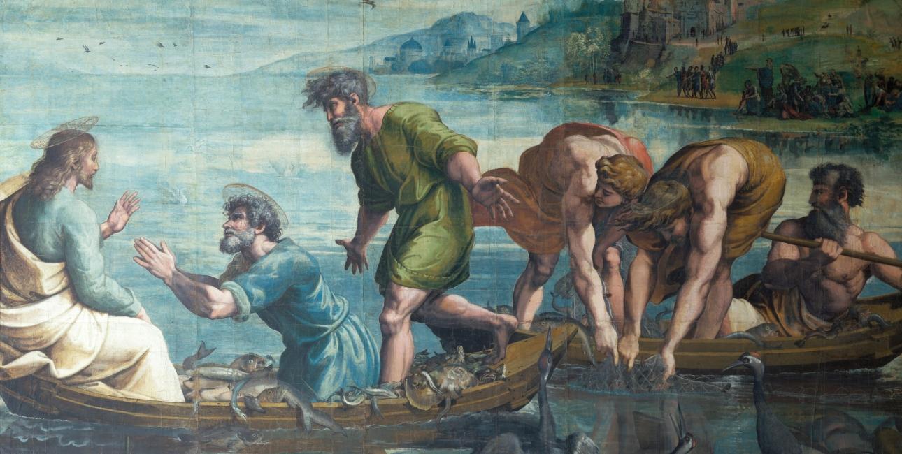 I Lukasevangeliet fortælles det, hvordan Jesus hjælper Peter, Jakob og Johannes til at få en mirakuløs fangst. Maleri af Raphael.
