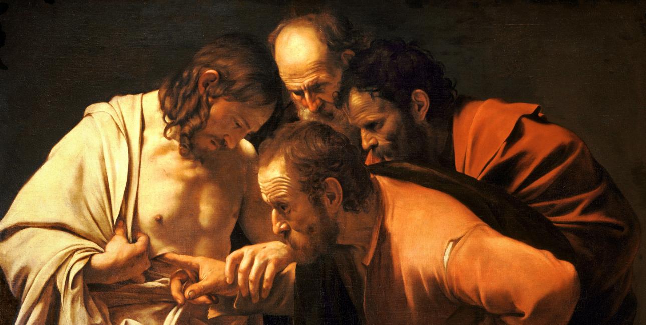 Da de andre disciple fortæller Thomas, at de har set den opstandne Kristus, vil Thomas kun tro det, hvis han selv kan stikke fingrene i Jesus' sår. Han vil selv kunne sikre sig, at det faktisk er Jesus. Maleri af Caravaggio.