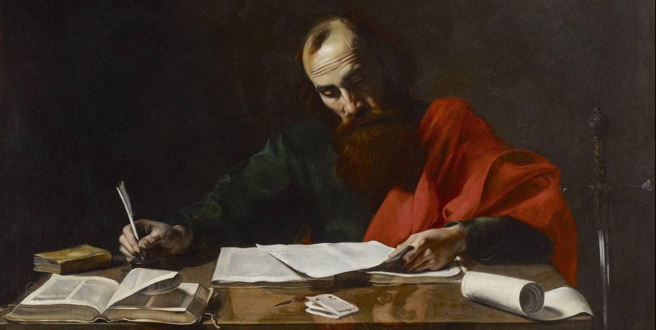 Paulus skriver breve. Maleri af Valentin de Boulogne.