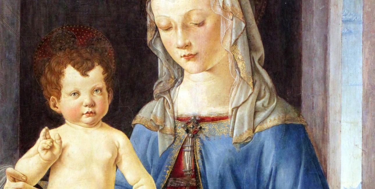Maria og Jesusbarnet. Maleri af Verrocchio.