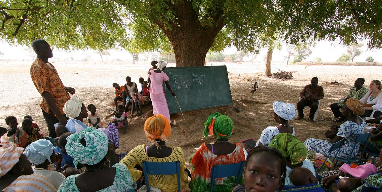 En gruppe mennesker modtager læseundervisning i skyggen i Tattaguine, Senegal. Foto Joaquim Dassonville / UBS.