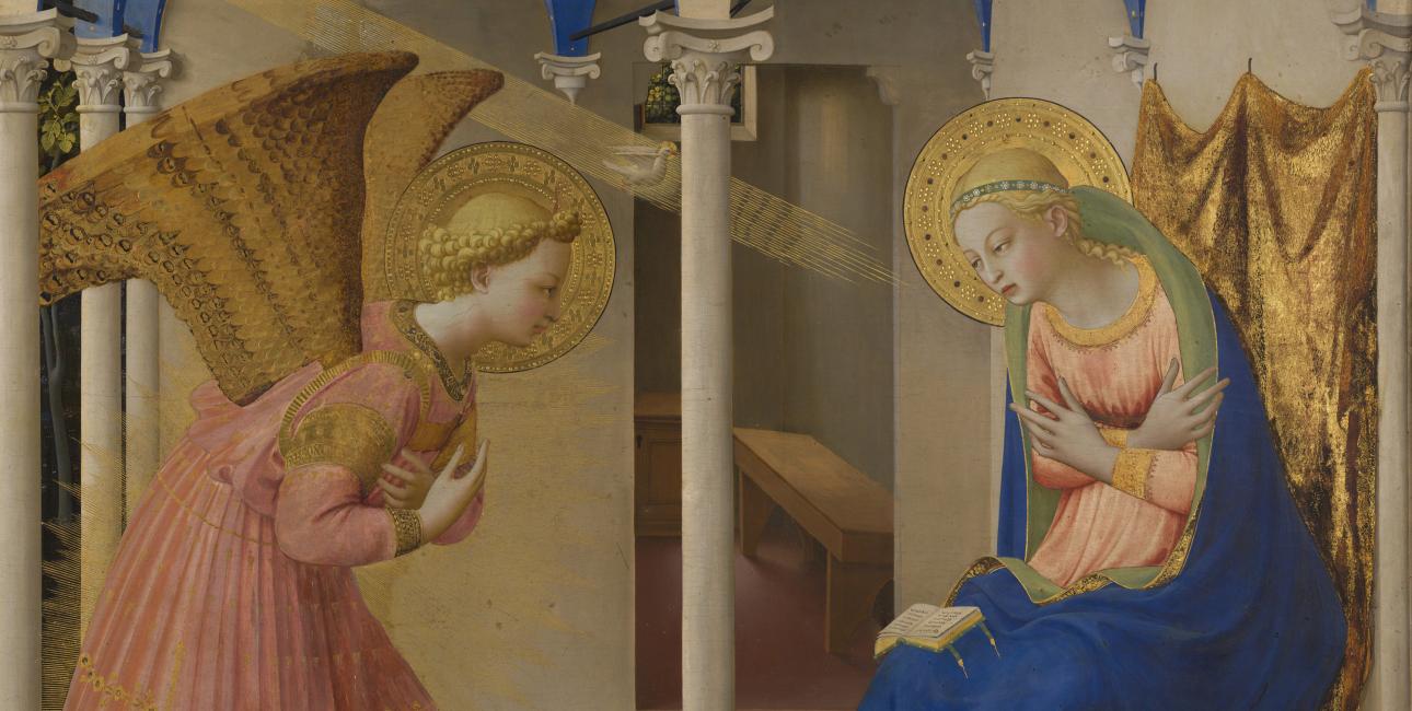 Englen Gabriel fortæller Maria, at hun skal føde Guds søn. Fresco af Fra Angelico.