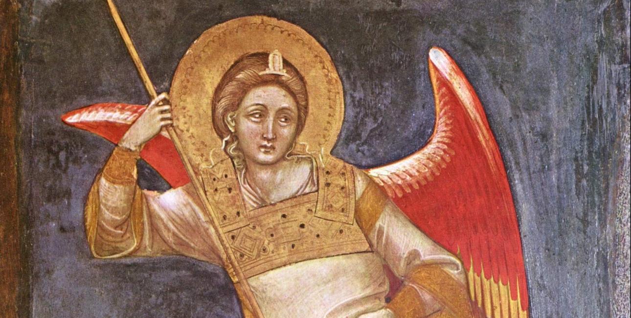 I middelalderen blev ærkeenglen Mikael ofte afbildet med en vægt i hånden. På den ene vægtskål lå ens syndige gerninger, og på den anden vægtskål lå sjælen. Men selvom de onde gerninger vejede tungest, var der alligevel hjælp at hente. Mikael prøvede nemlig at holde det onde væk. Maleri af Guariento di Arpo, Wikimedia Commons.
