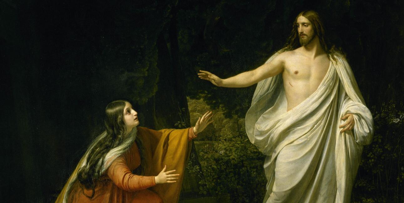 Maria Magdalene møder den opstandne Jesus. Maleri af Alexander Ivanov. Kilde: Wikimedia Commons.