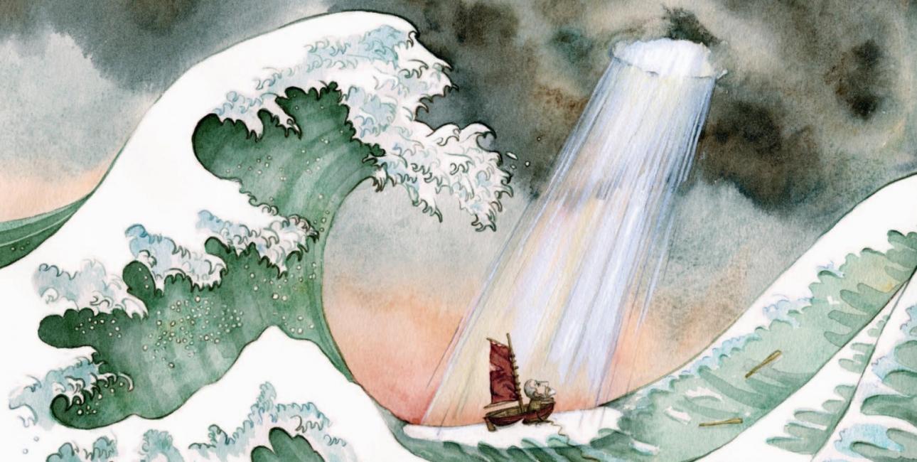 """Bjarne Reuter har genfortalt historien om Noas ark i bogen """"Noa"""". Børnebogen er smukt illustreret af Kamilla Wichmann."""