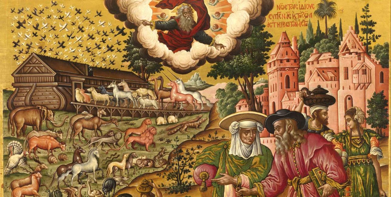 På Guds befaling bygger Noa sin enorme ark. Maleri af Theodore Poulakis.