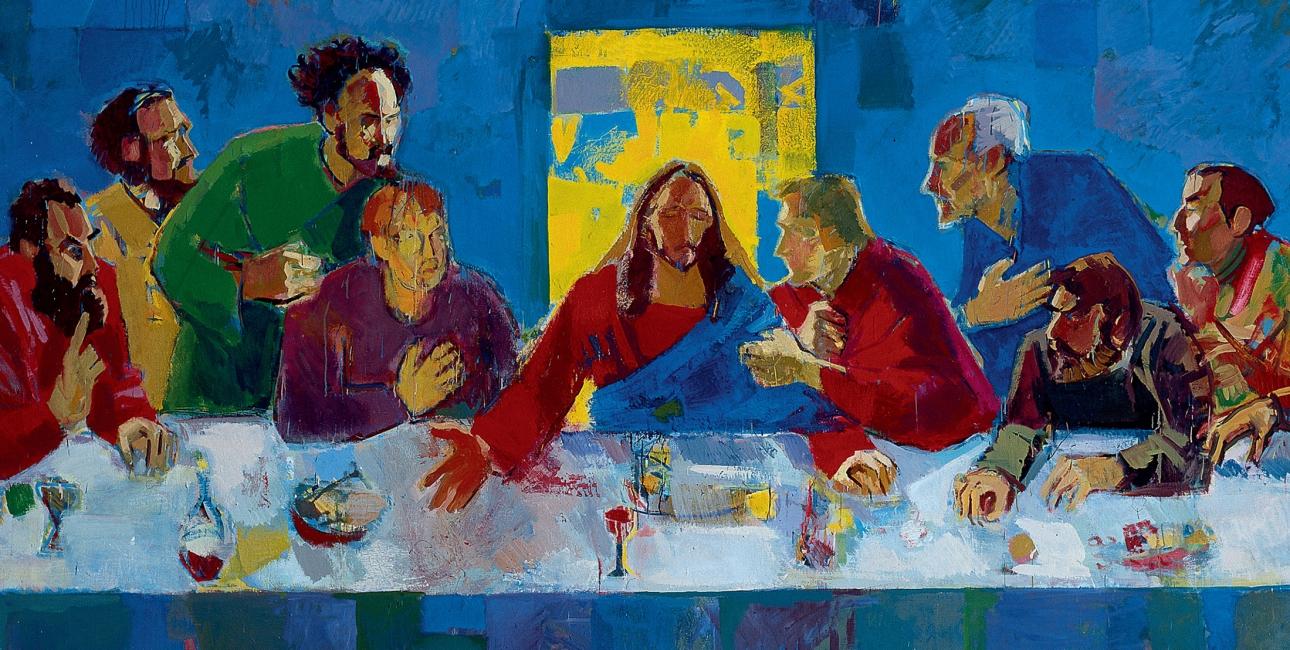 """Den sidste nadver. Maleri fra 1996 af Torbjørn Olsen. Kunstværket er altertavle i Haldórsvík Kirke på Færøerne og desuden omslagsbillede til """"Det Nye Testamente illustreret med værker fra kunstens historie""""."""