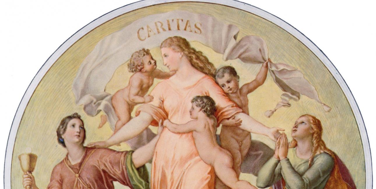 """Bannerne, der kan anes her, bærer på det fulde billede ordene """"fides"""", """"spes"""" og """"caritas"""" - tro, håb og kærlighed. Schnorr von Carolsfelds """"Tro, håb, kærlighed"""". Fra Wikimedia Commons."""