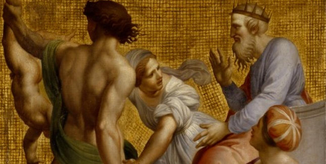 Kong Salomo, som i følge traditionen har skrevet prædikerens bog, stopper her sin tidligere ordre om at kløve barnet, da den fortvivlede mor opgiver sin ret til det. Udsnit af Giuseppe Cades' maleri fra det 18. århundrede. Fra Wikimedia Commons.